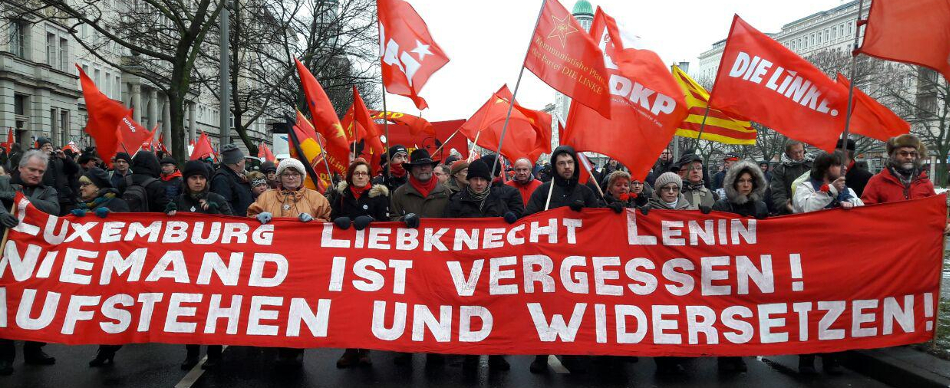 Luxemburg Liebknecht demonstration 2017 in Berlin. Photo: RedGlobe